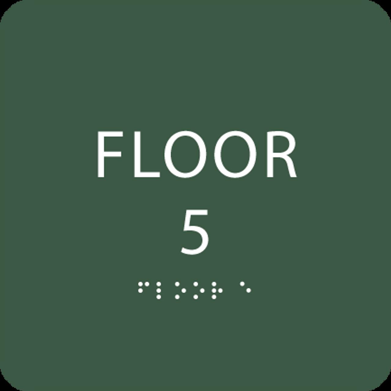 Green Floor 5 Level Number Sign