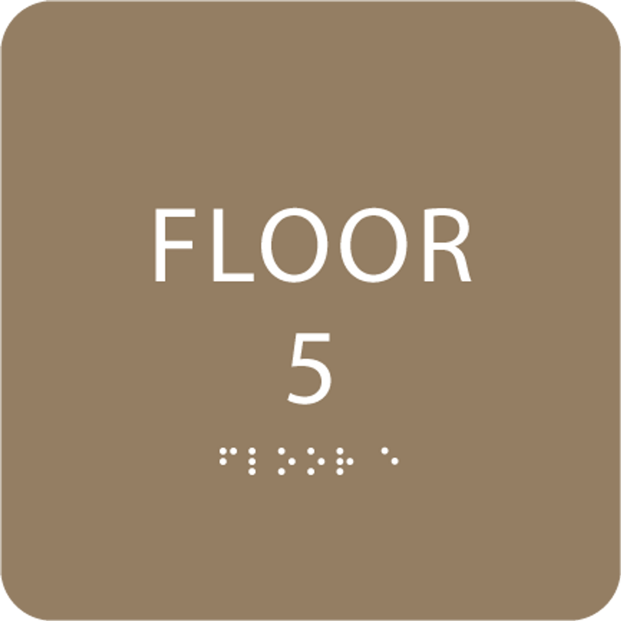 Brown Floor 5 Level Identification Sign