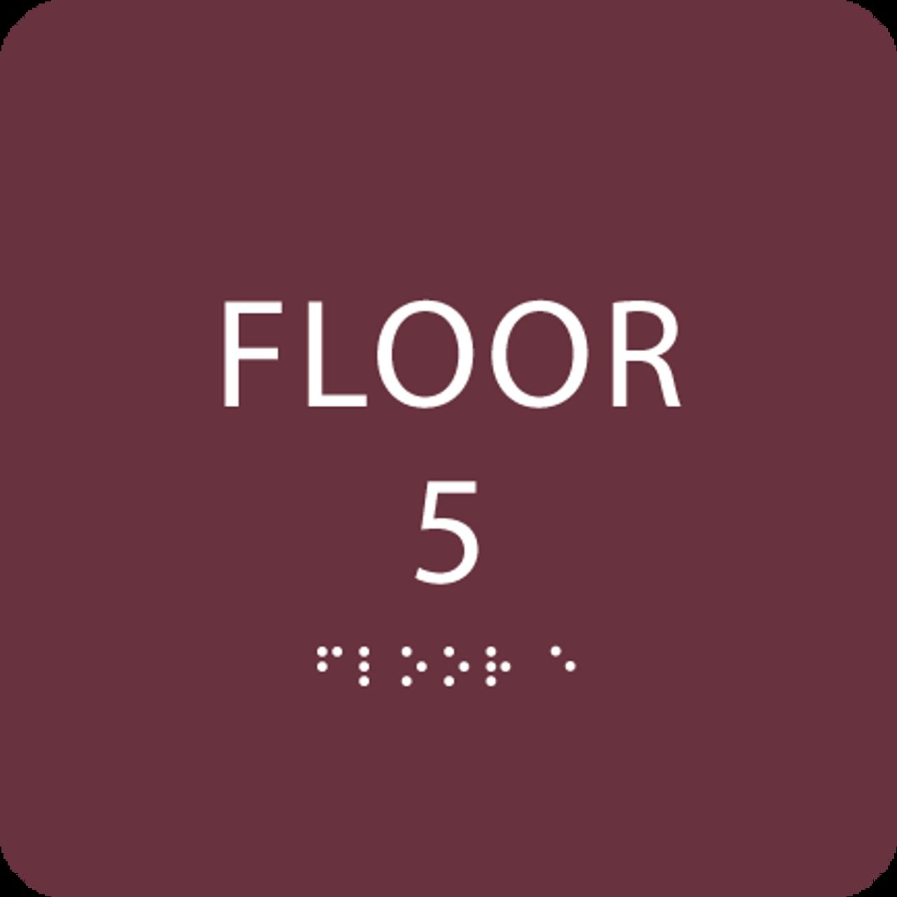 Burgundy Floor 5 Level Identification Sign