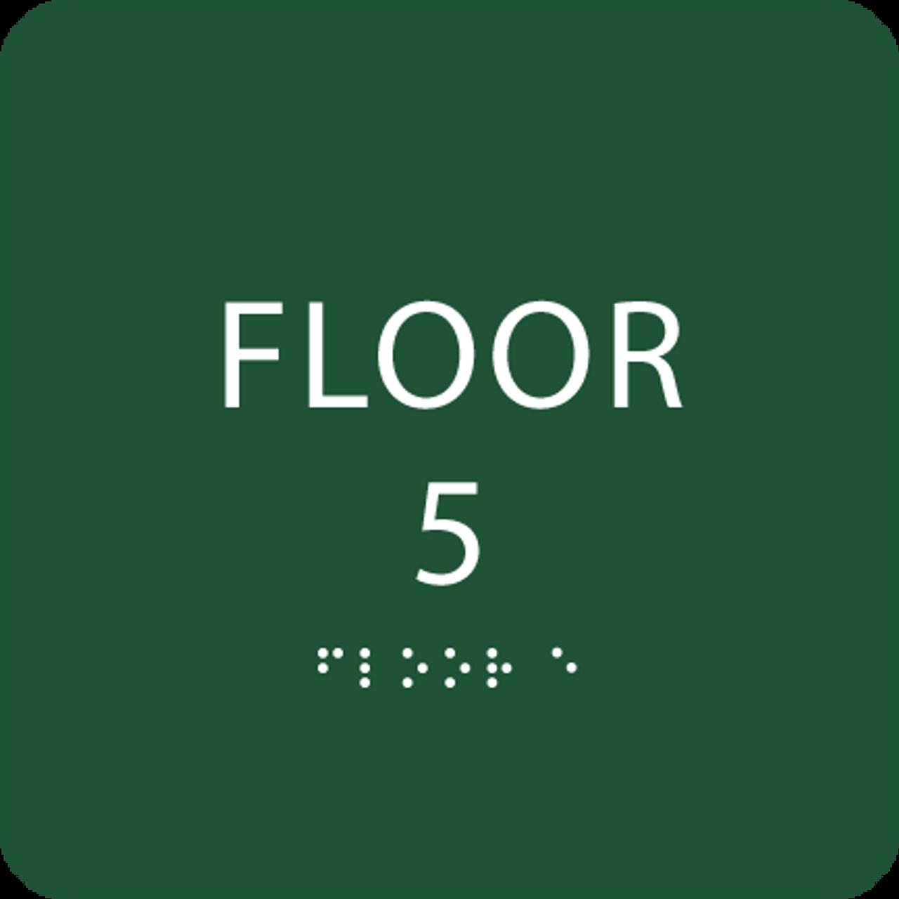 Green Floor 5 Number Identification Sign