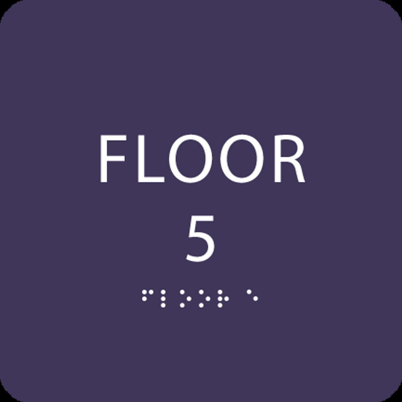 Purple Floor 5 Level Identification Sign