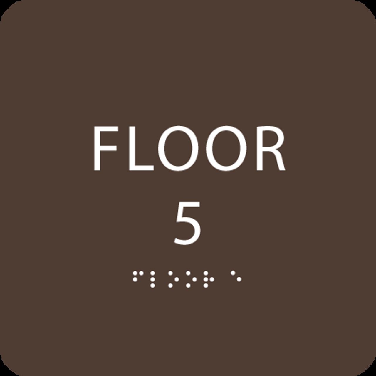 Dark Brown Floor 5 Level Identification Sign