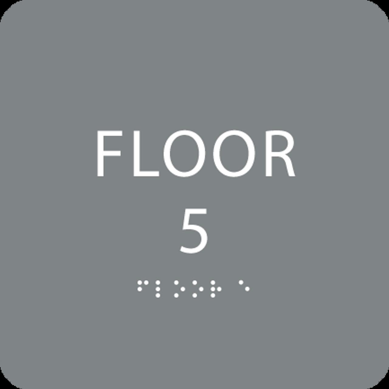 Grey Floor 5 Level Number Sign