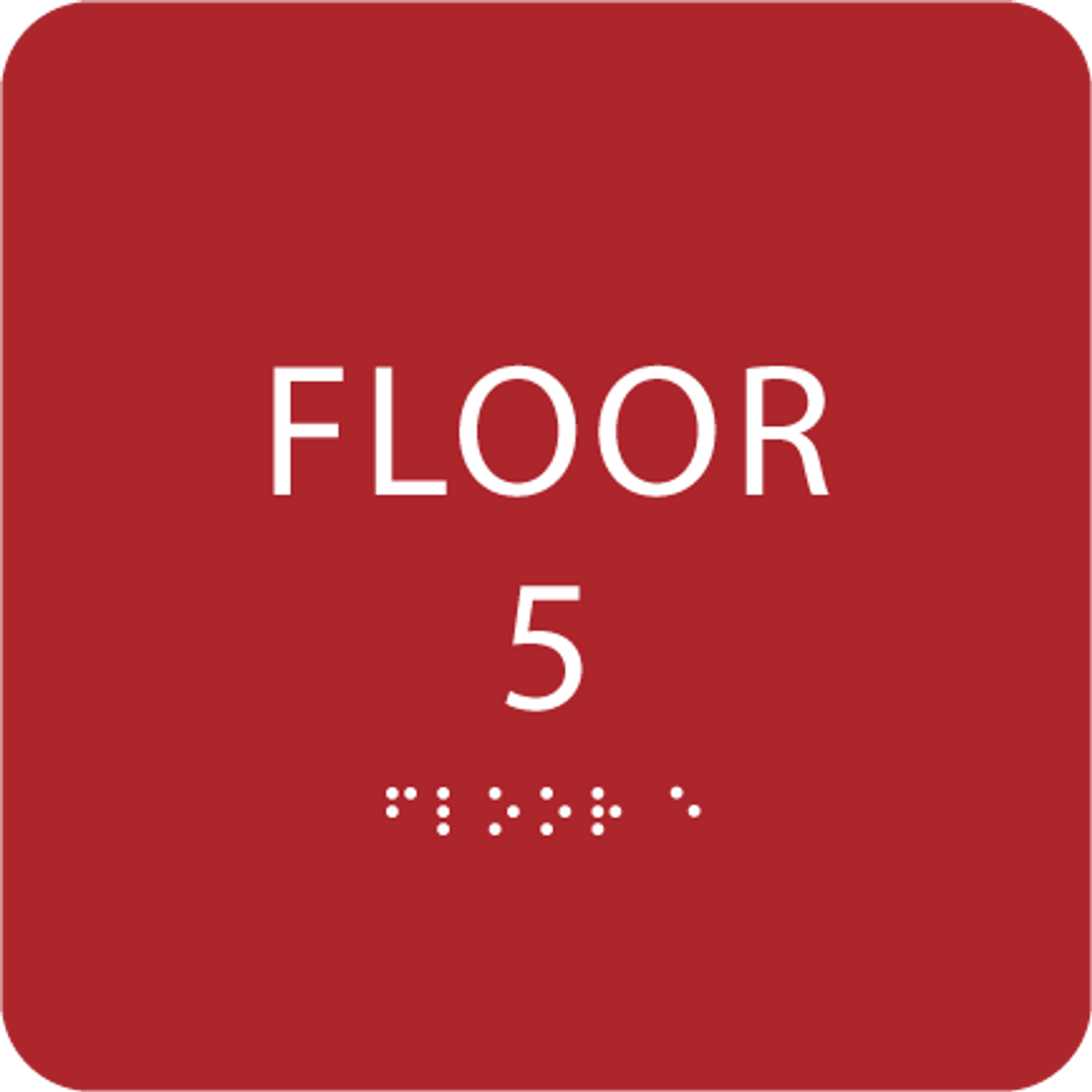 Red Floor 5 Level Identification Sign