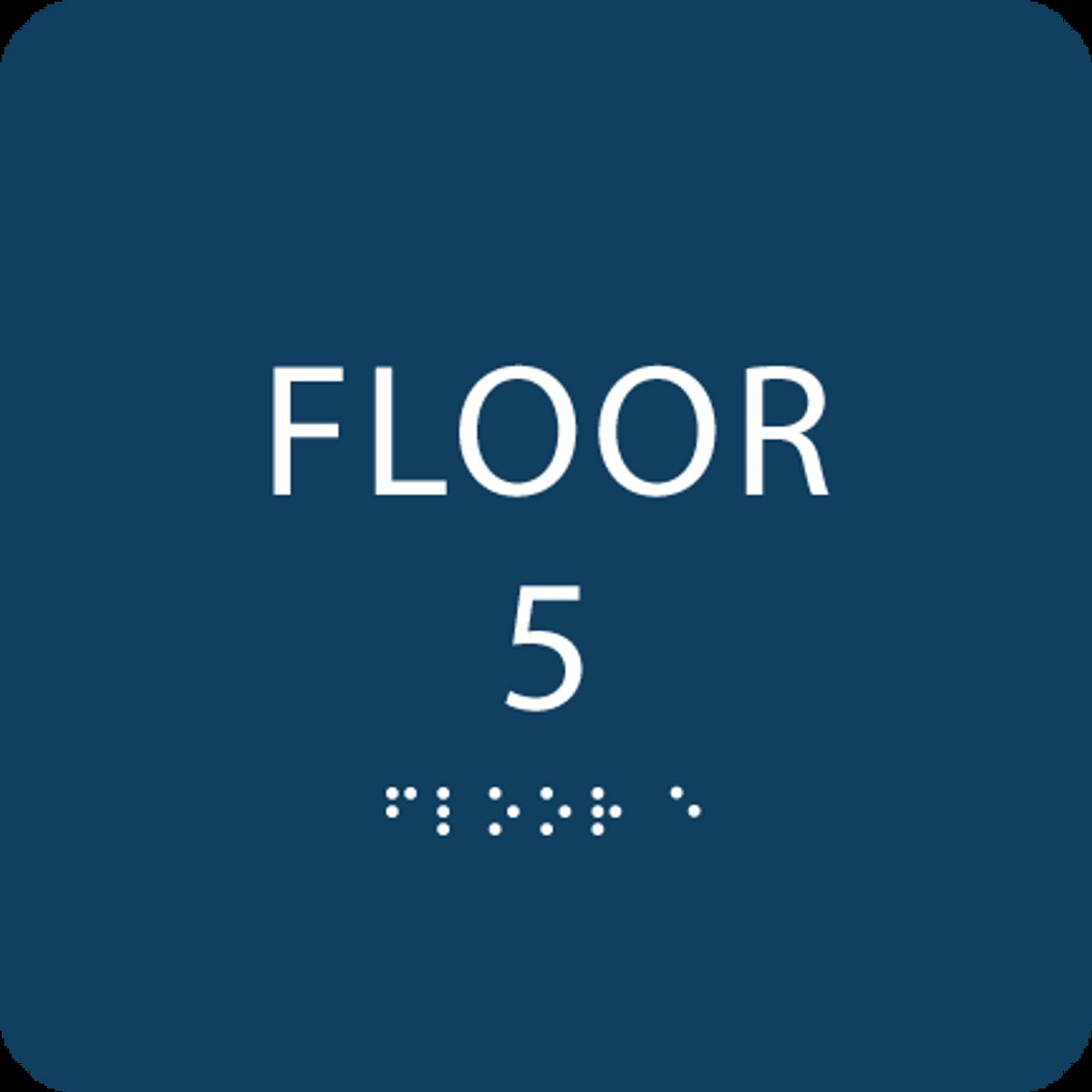 Dark Blue Floor 5 Level Identification Sign