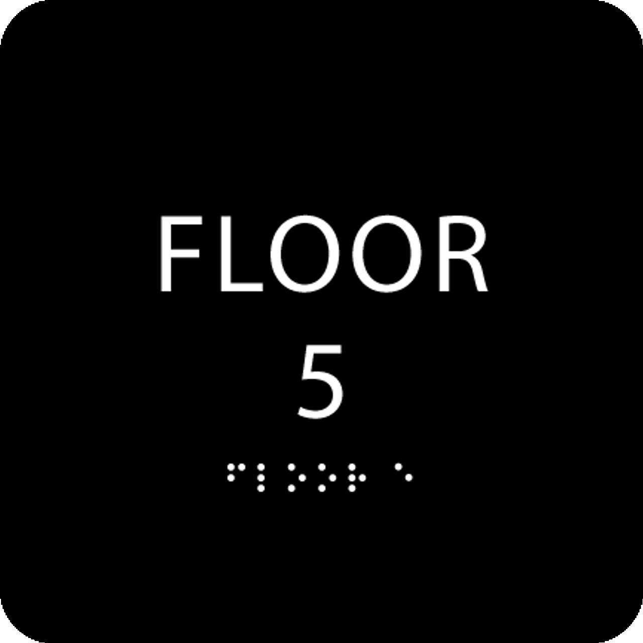 Black Floor 5 Level Identification Sign