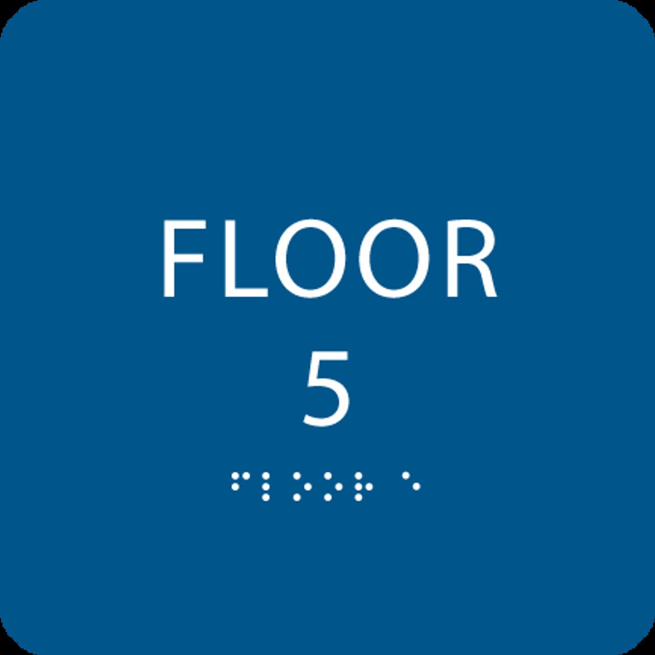 Blue Floor 5 Level Identification Sign