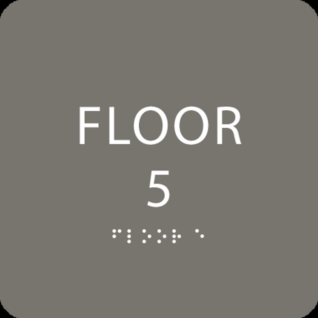 Dark Grey Floor 5 Level Identification Sign