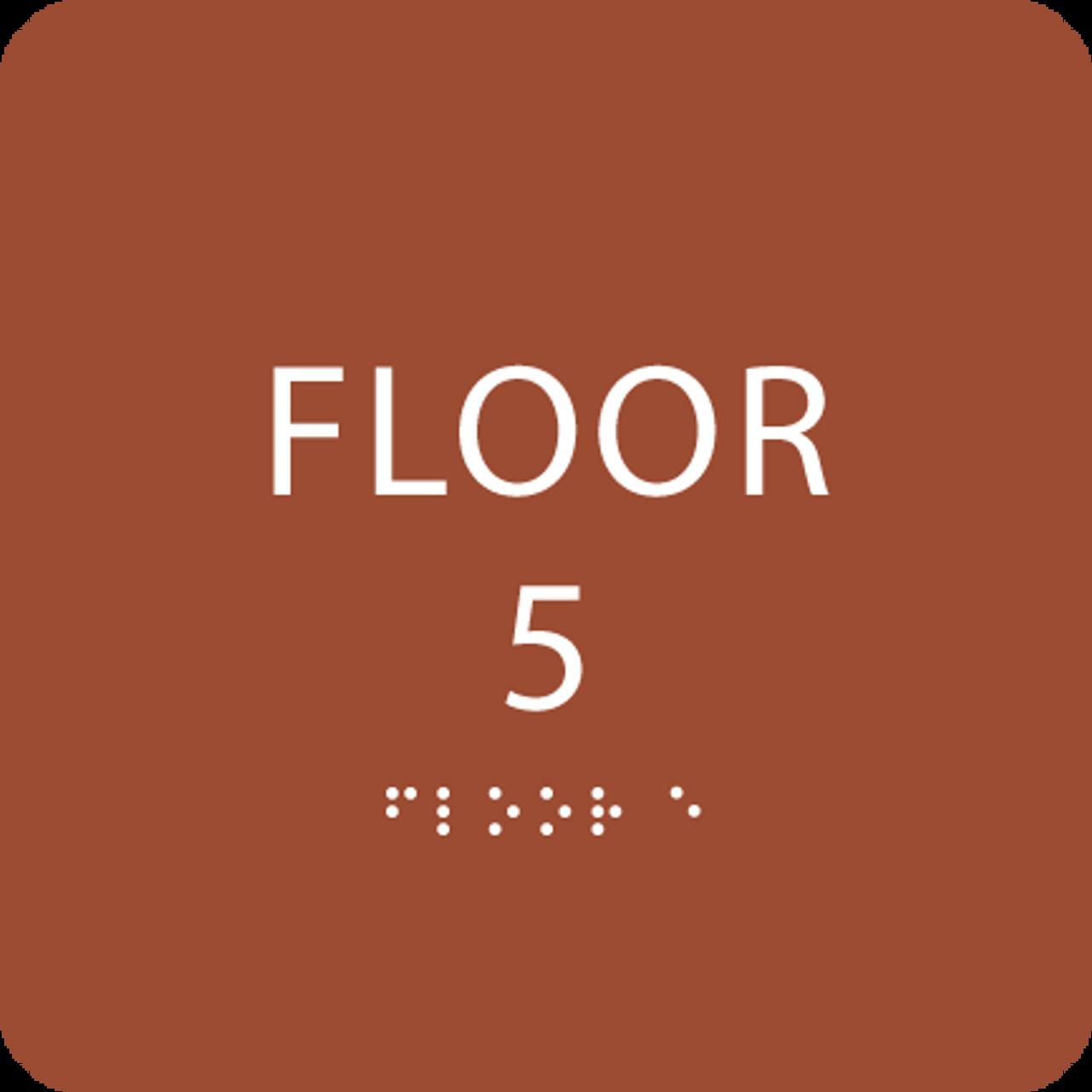 Orange Floor 5 Level Identification Sign