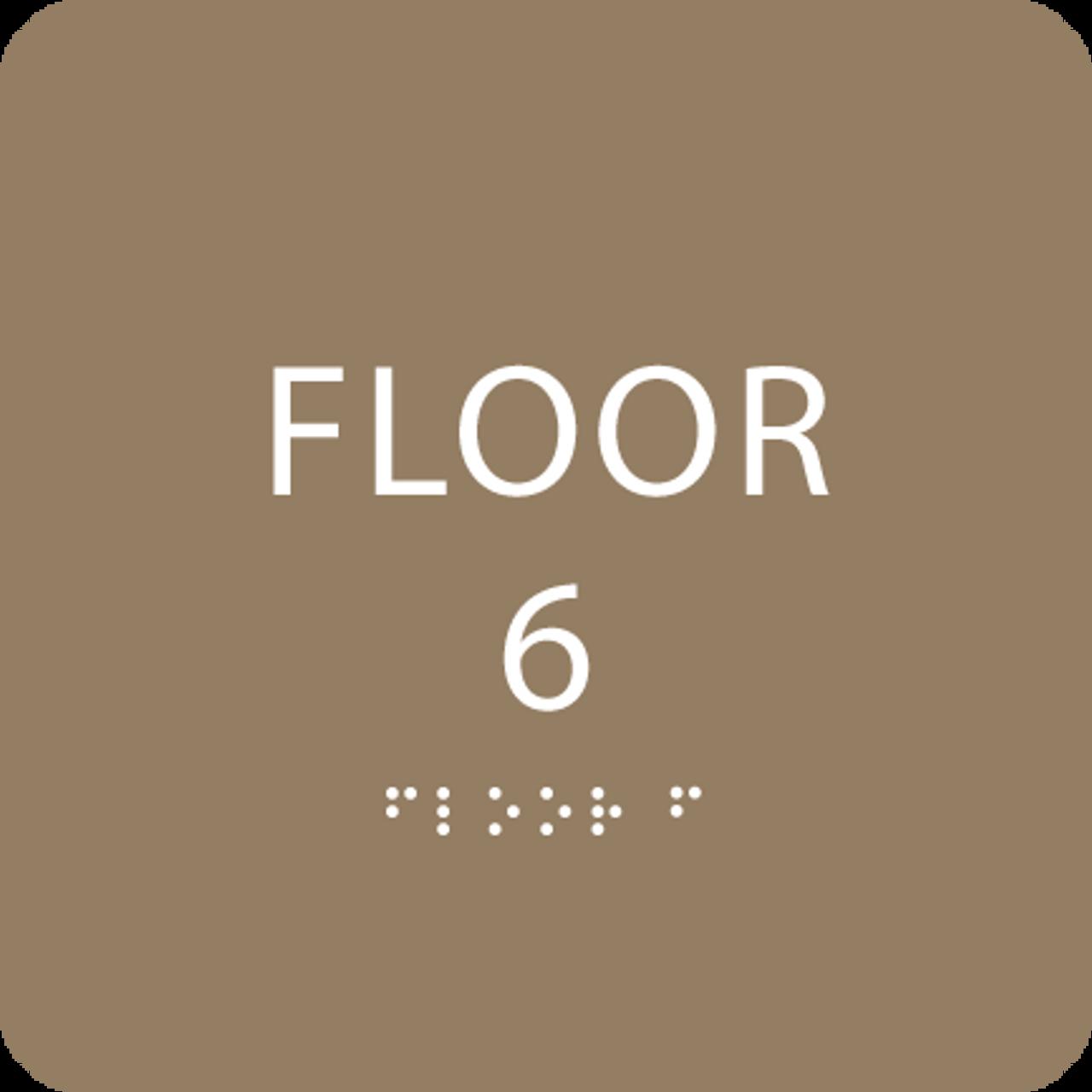 Brown Floor 6 Level Identification ADA Sign