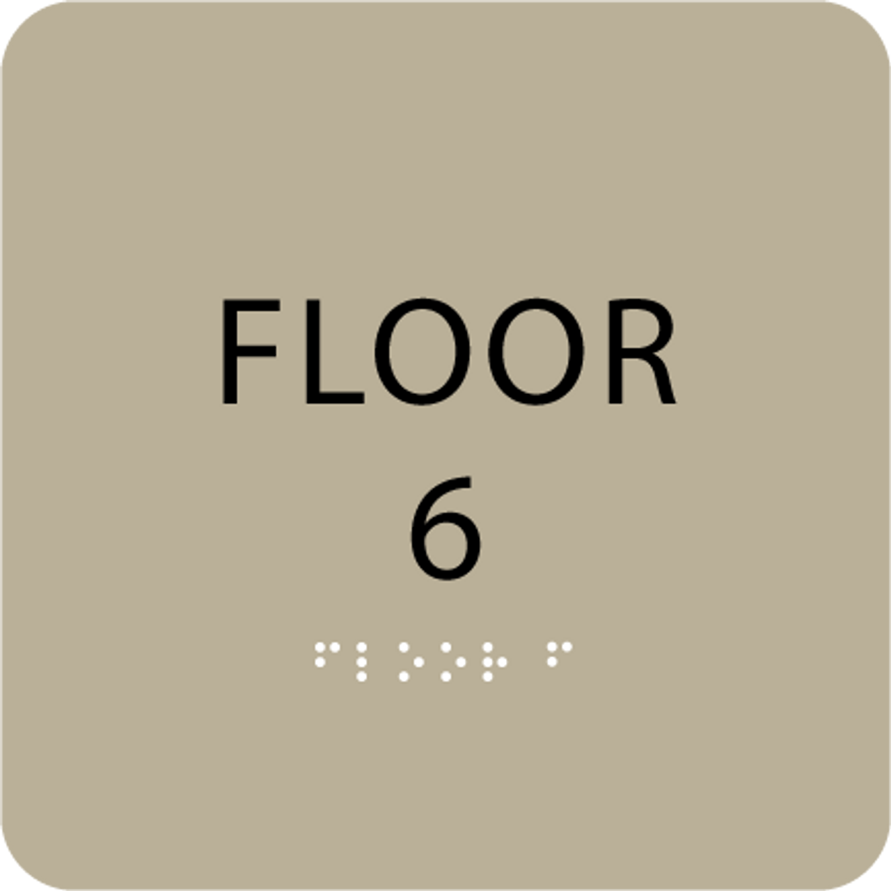 Brown Floor 6 Level Number ADA Sign
