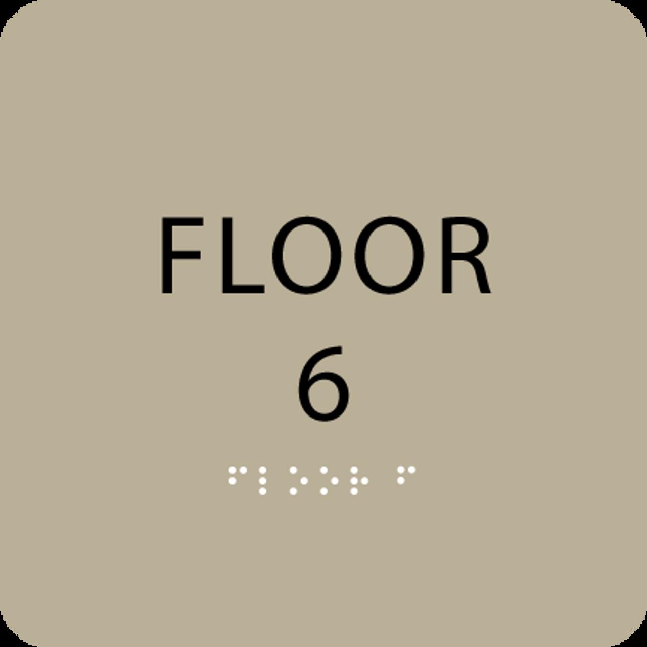 Brown Floor 6 Level Number ADA Sign
