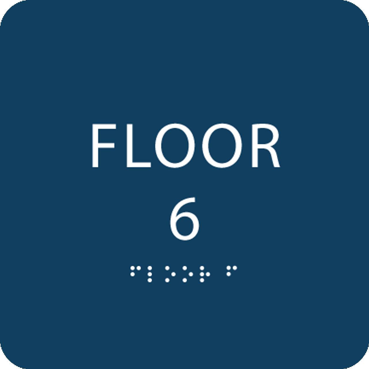 Dark Blue Floor 6 Level Identification ADA Sign