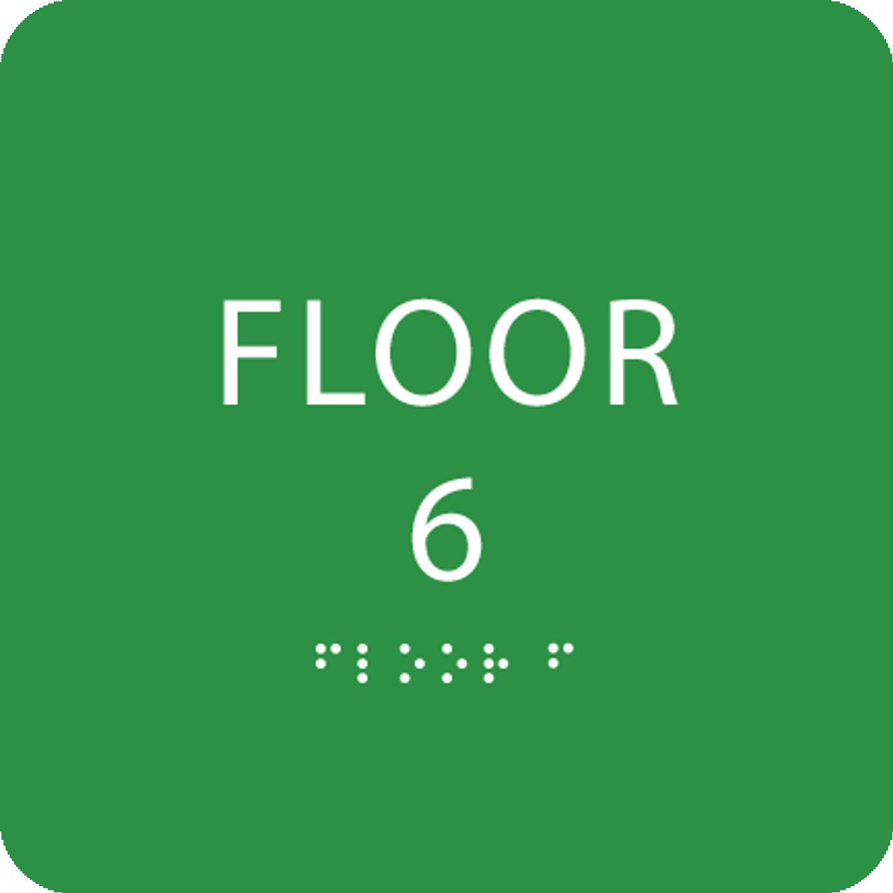 Green Floor 6 Level Identification ADA Sign