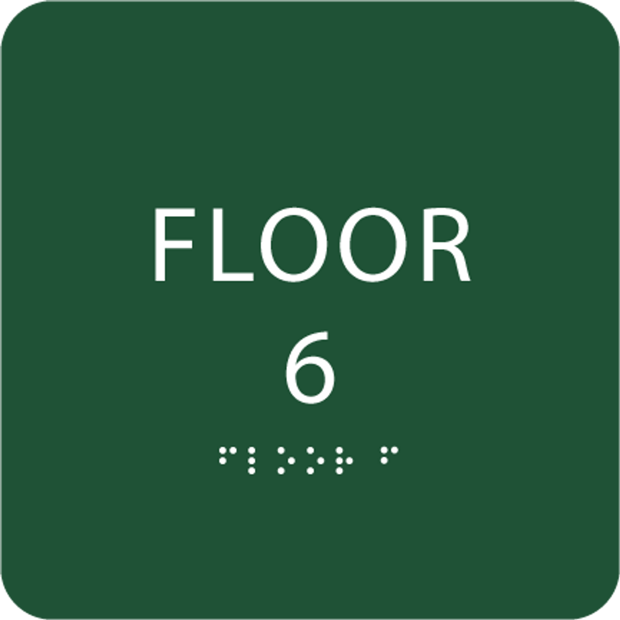 Green Floor 6 Level Number ADA Sign