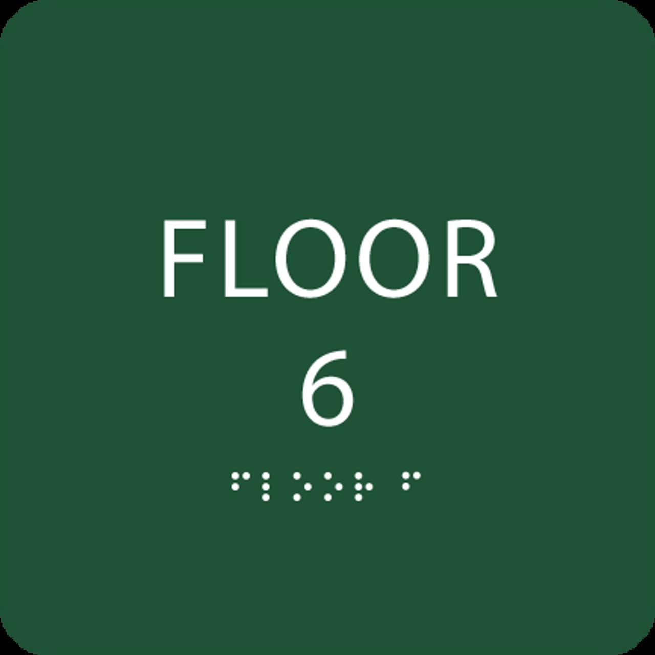 Green Floor 6 Level Number ADA Sign