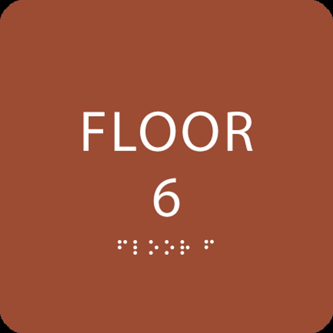 Orange Floor 6 Level Identification ADA Sign