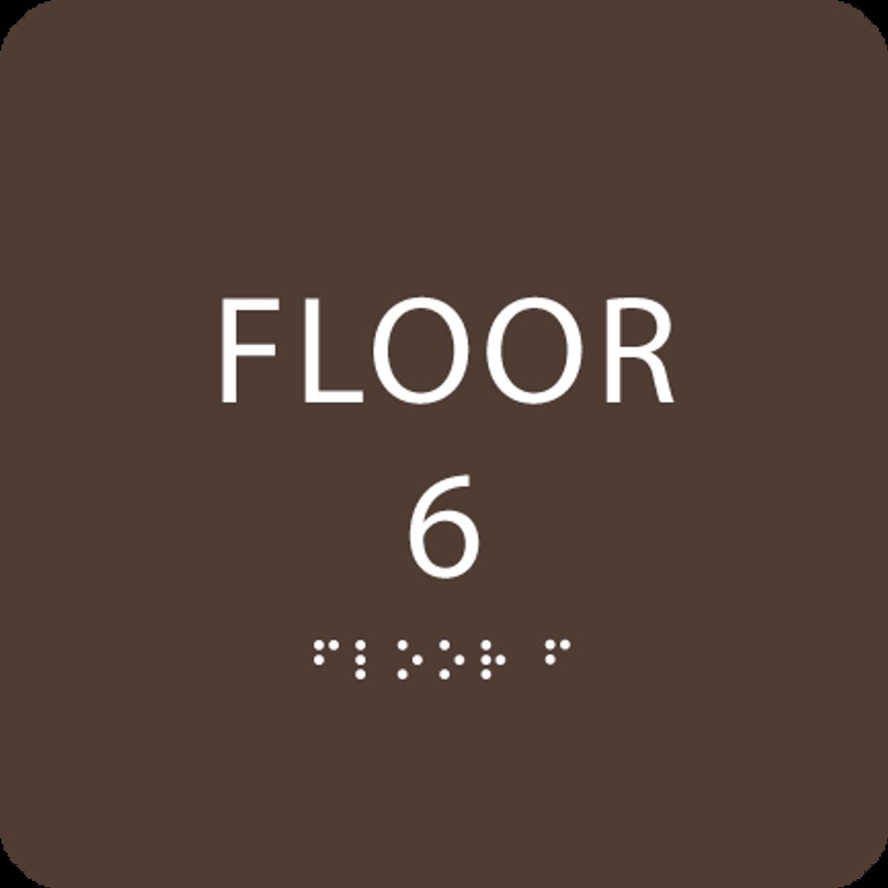 Dark Brown Floor 6 Level Identification ADA Sign