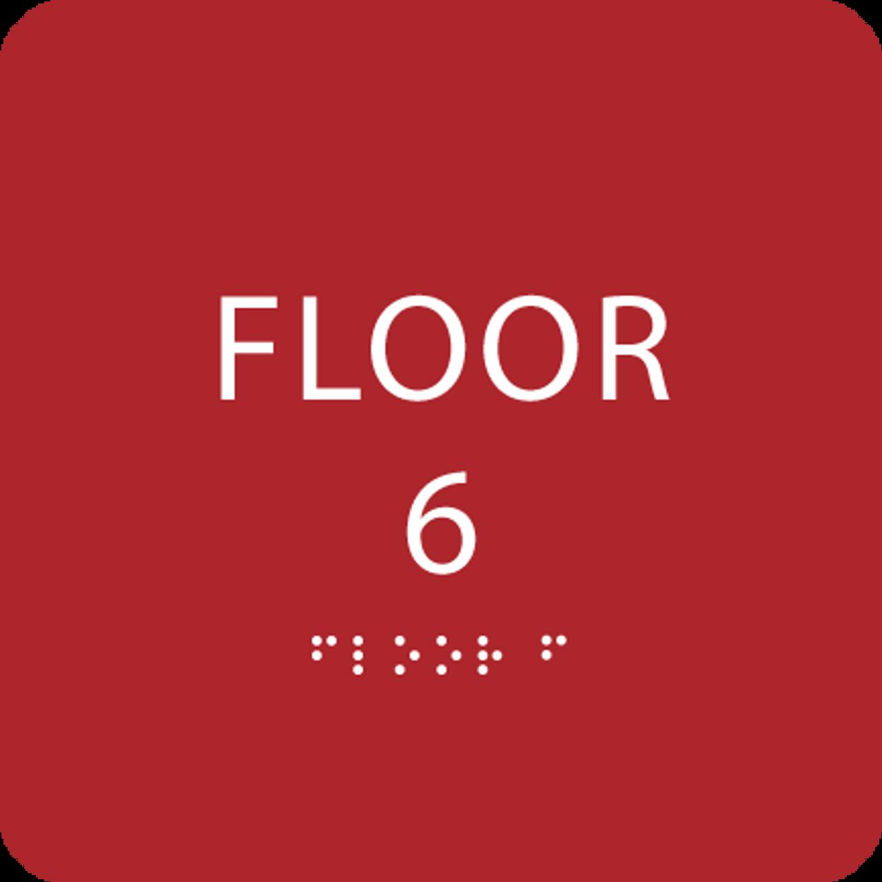 Red Floor 6 Level Identification ADA Sign