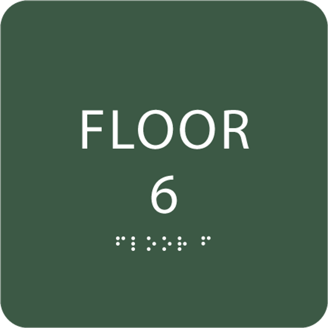 Green Floor 6 Number Identification ADA Sign