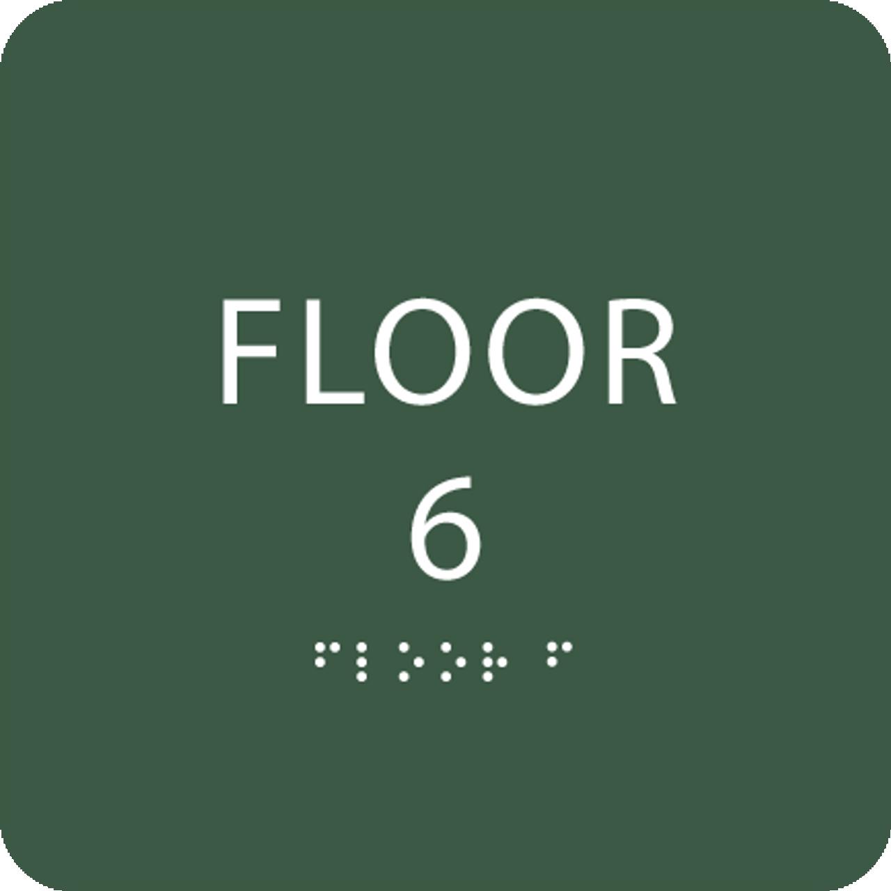 Green Floor 6 Number Identification ADA Sign