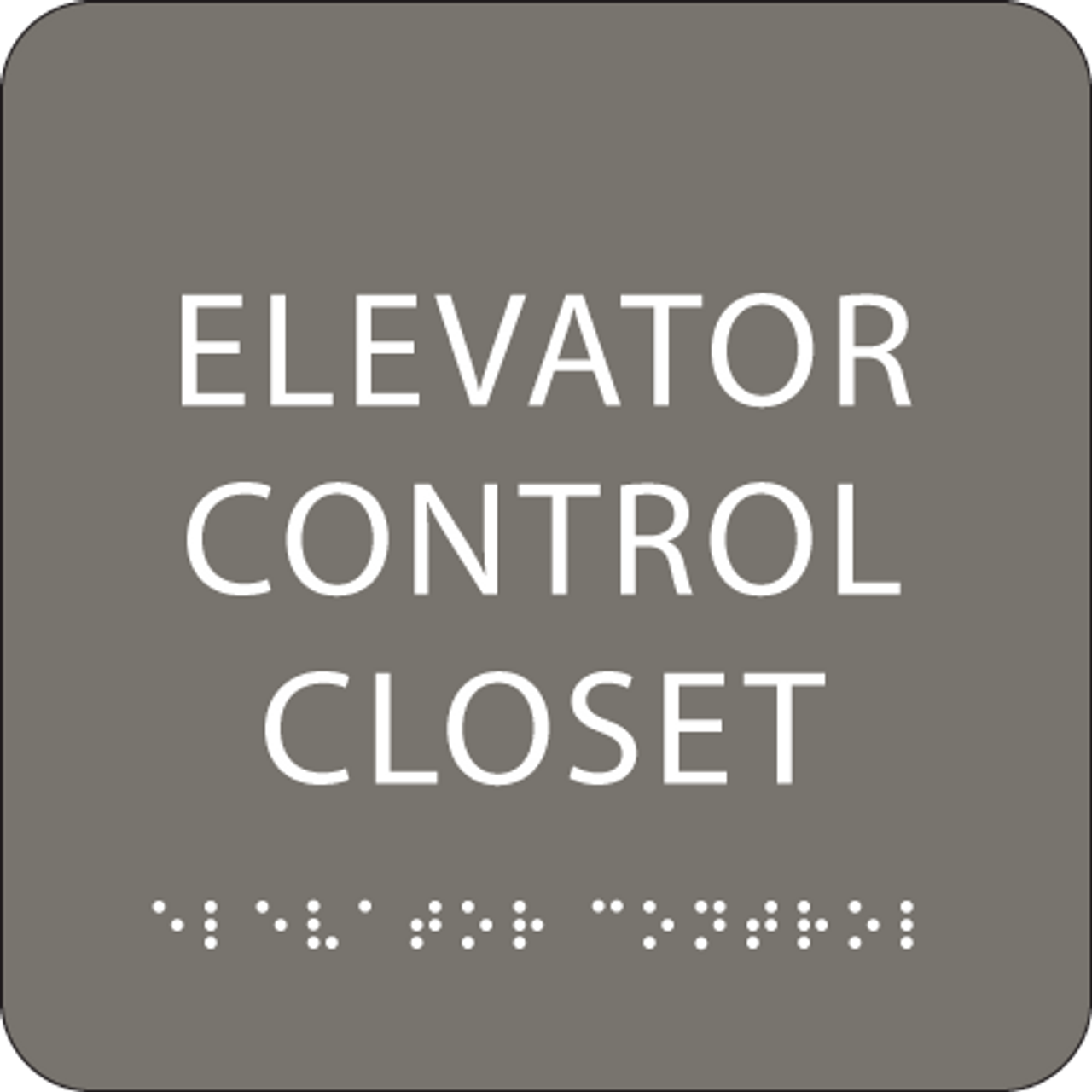 Dark Grey Elevator Control Closet ADA Sign
