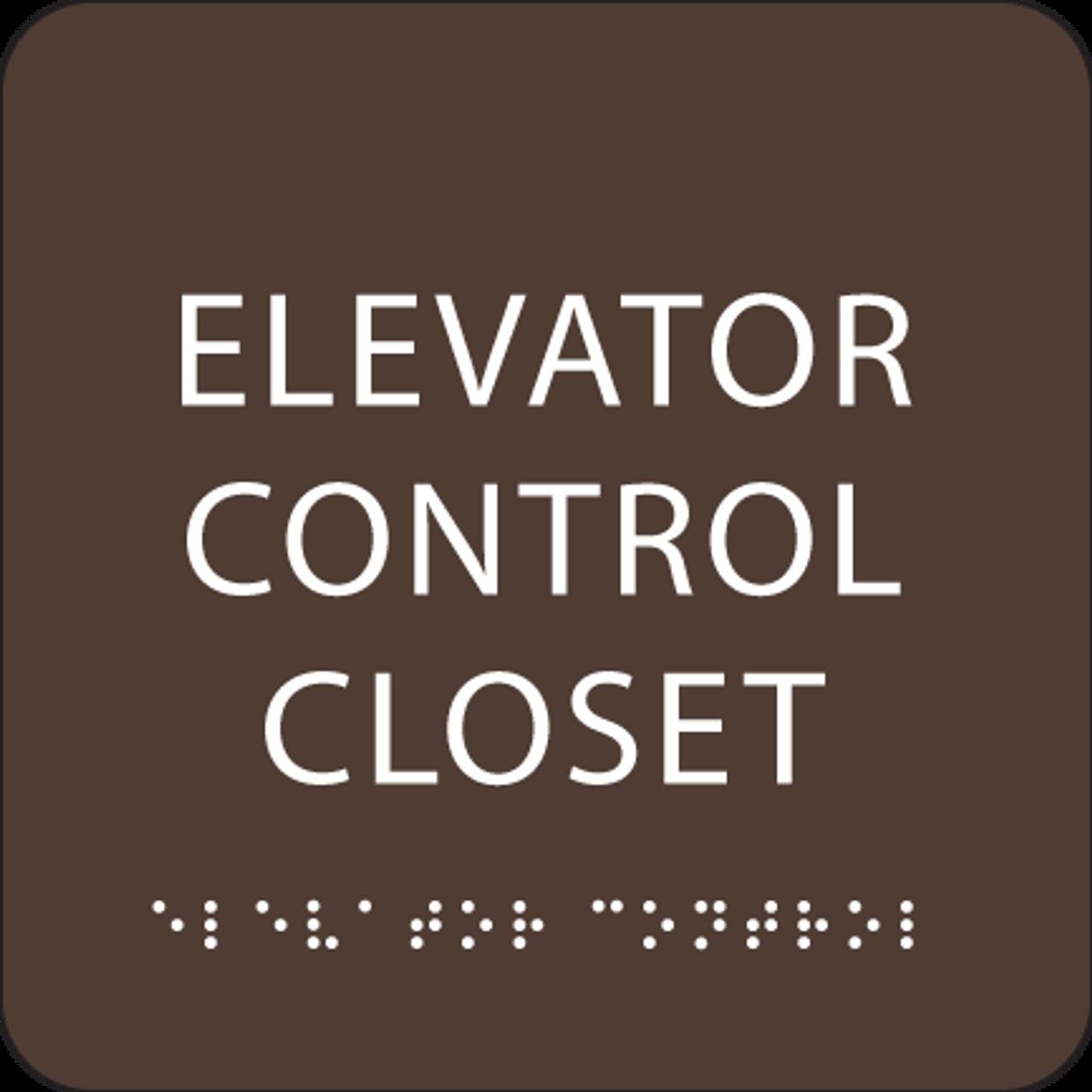 Dark Brown Elevator Control Closet ADA Sign