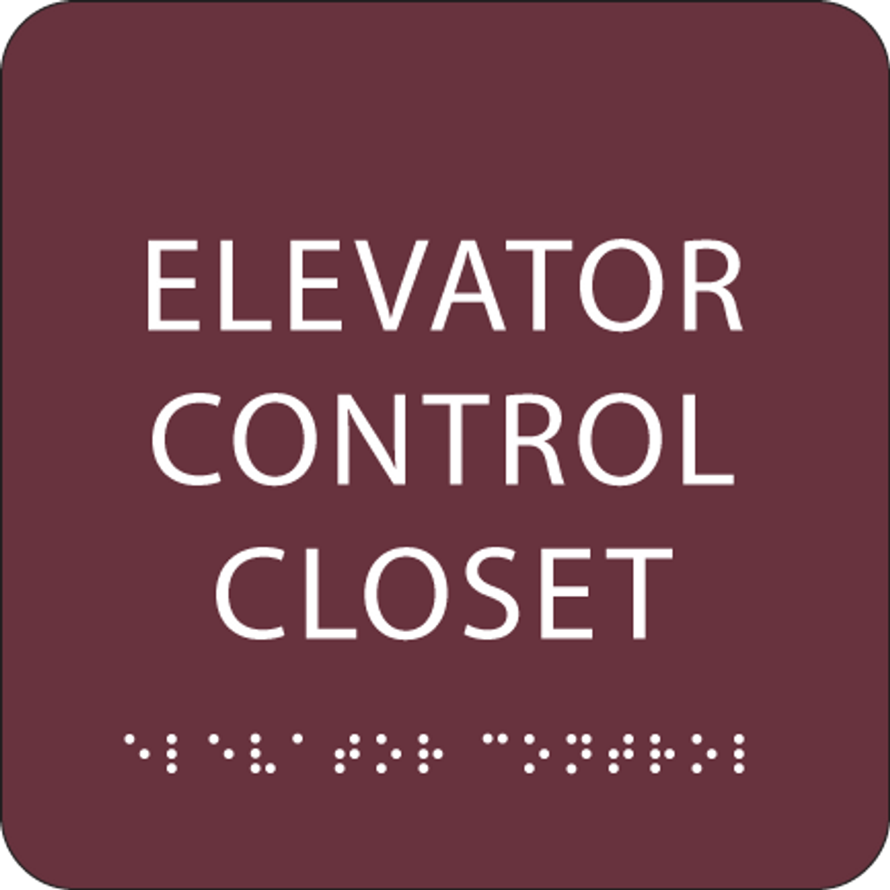 Burgundy Elevator Control Closet ADA Sign