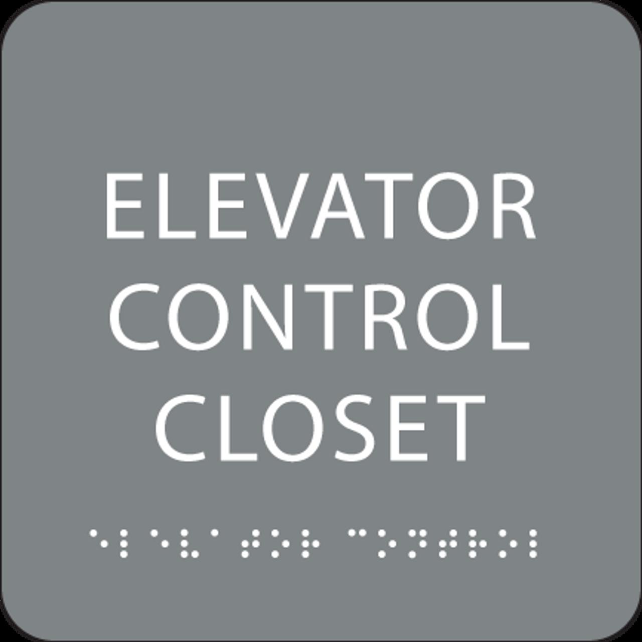 Grey Elevator Control Closet ADA Sign