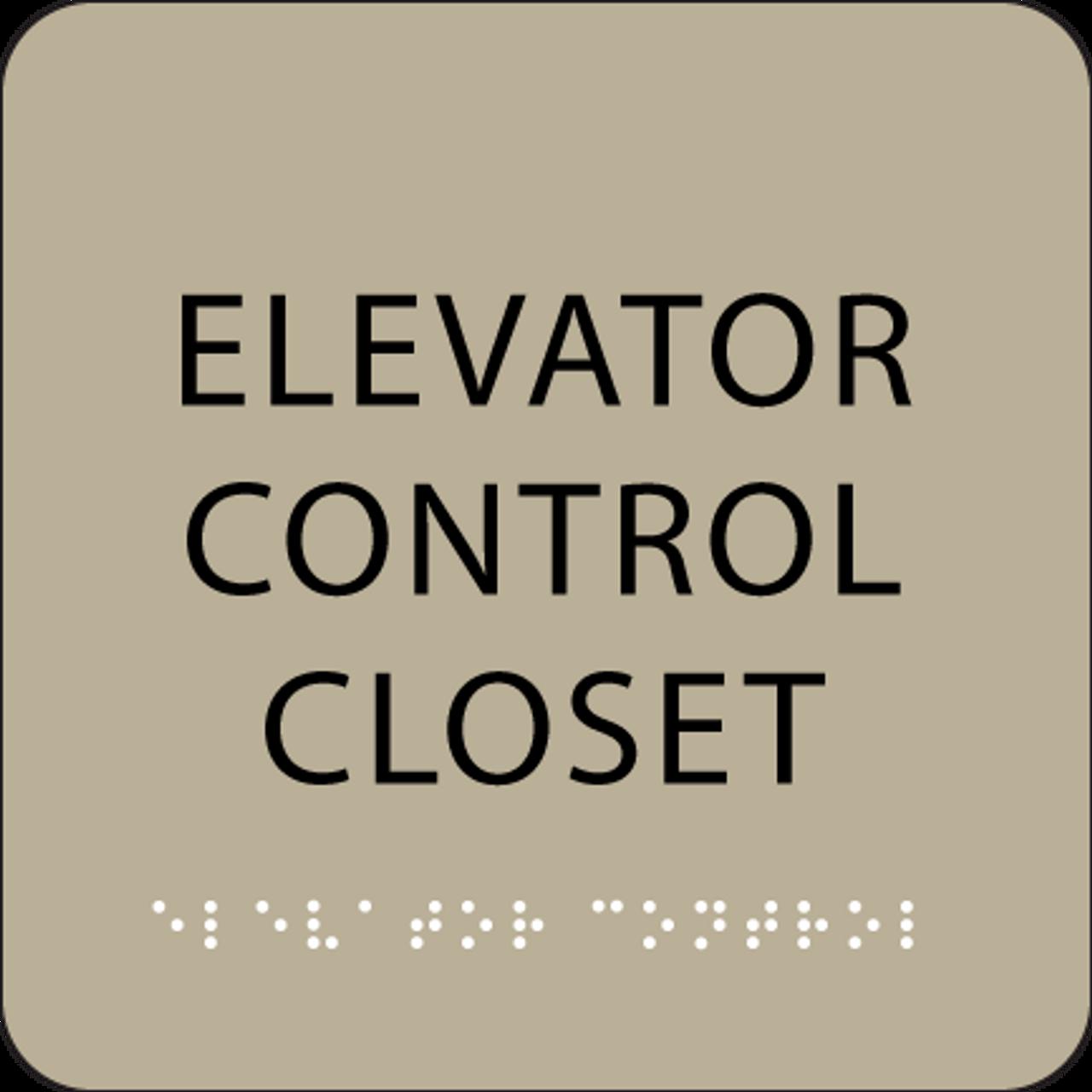 Brown Elevator Control Closet ADA Sign