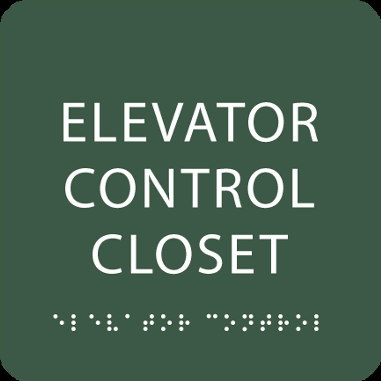 Green Elevator Control Closet ADA Sign