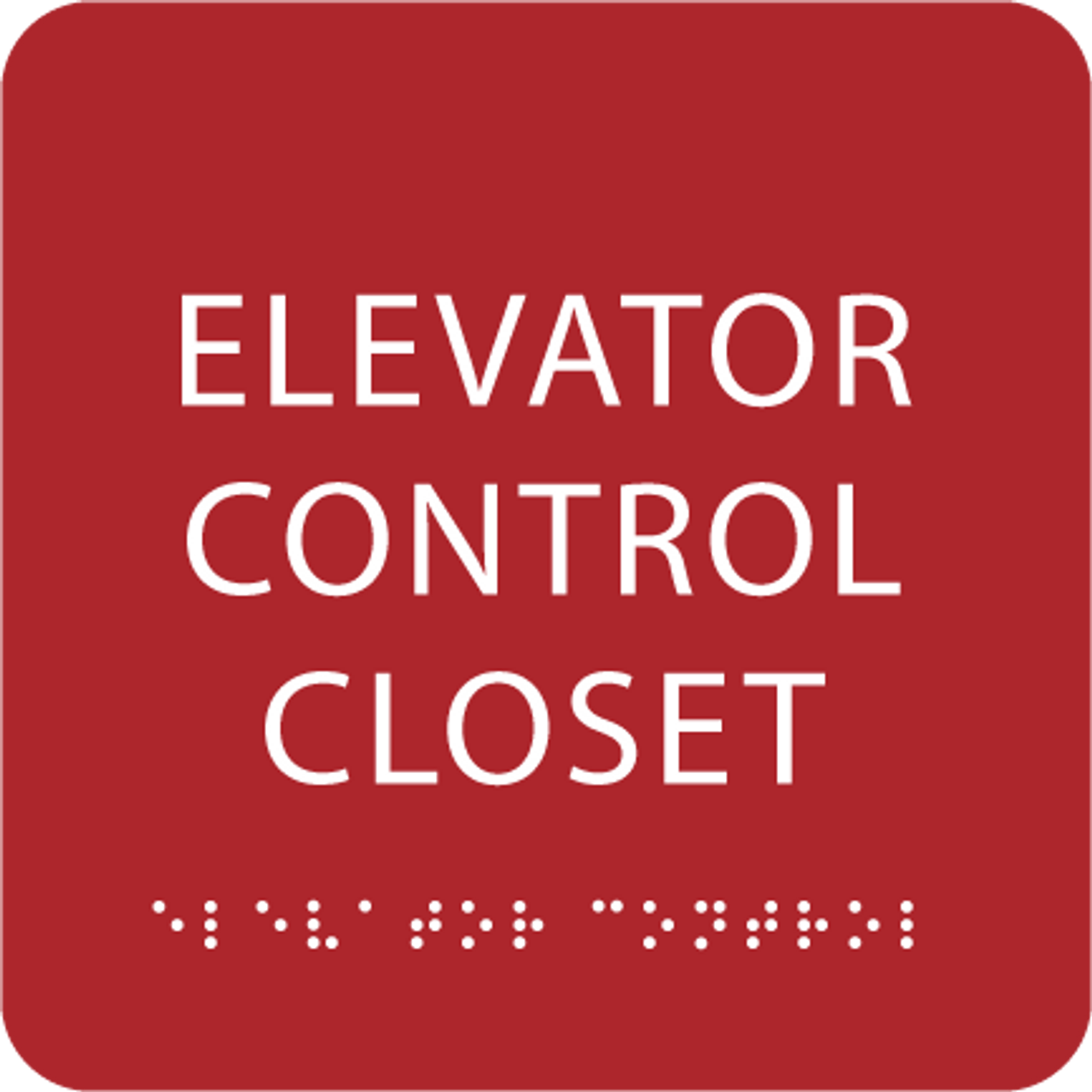 Red Elevator Control Closet ADA Sign