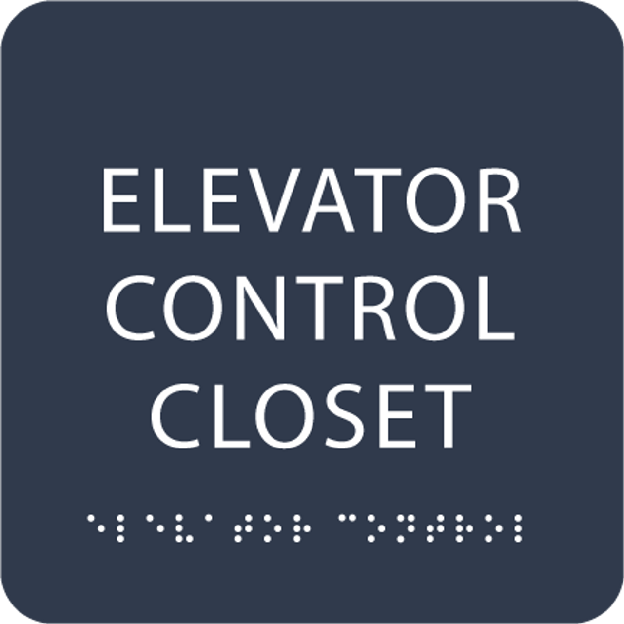 Navy Elevator Control Closet ADA Sign