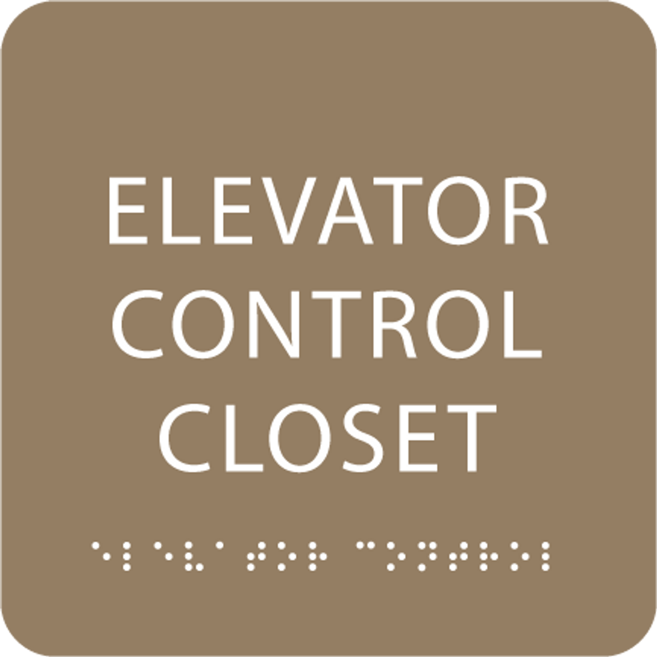 Brown Elevator Control Closet Braille Sign