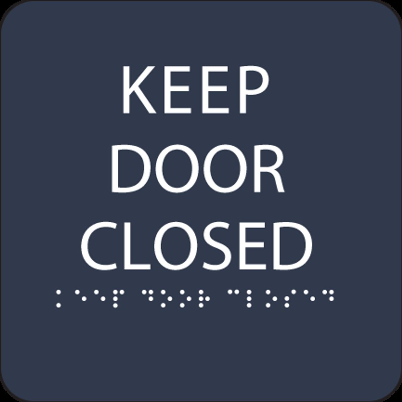 Navy Keep Door Closed ADA Sign