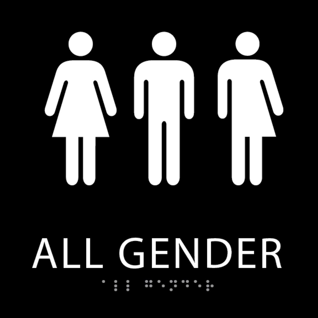 Black All Gender Restroom Sign