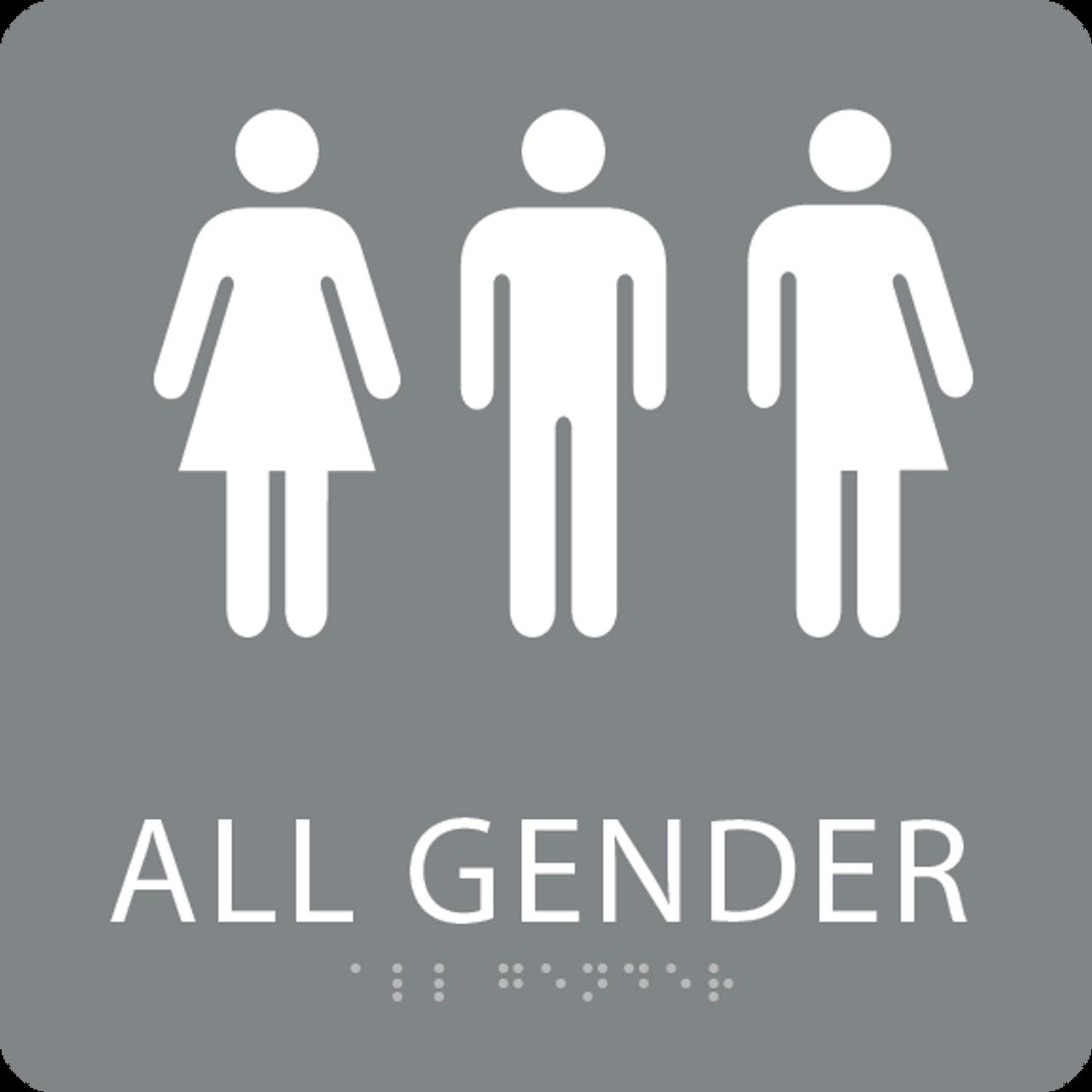 Grey All Gender Restroom Sign