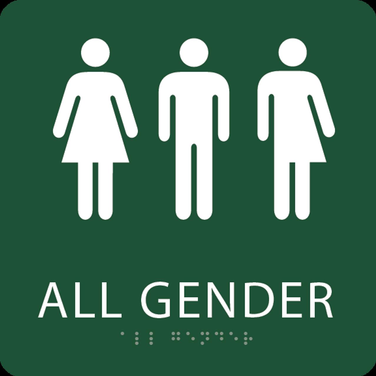Forest Green All Gender Restroom Sign