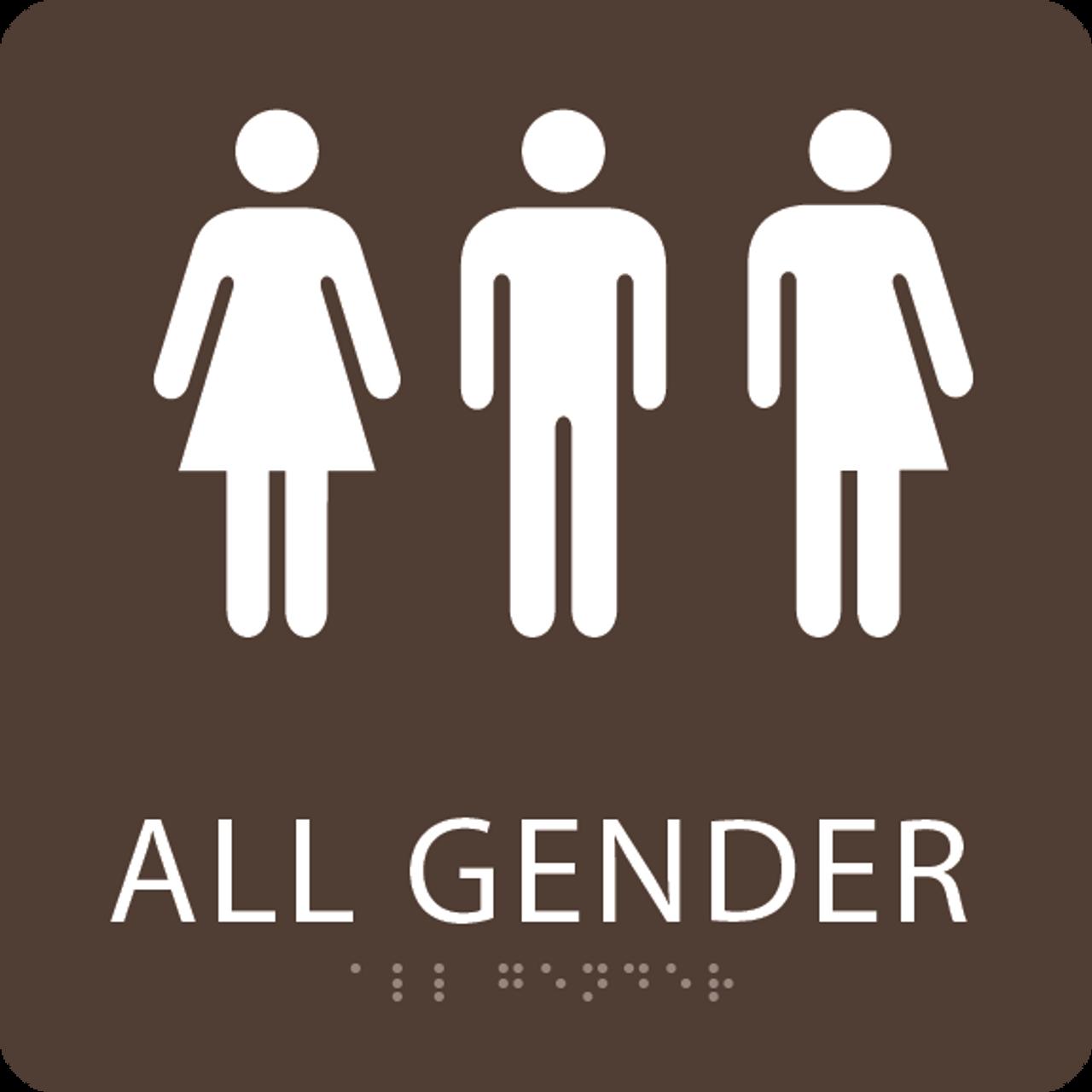 Dark Brown All Gender Restroom Sign