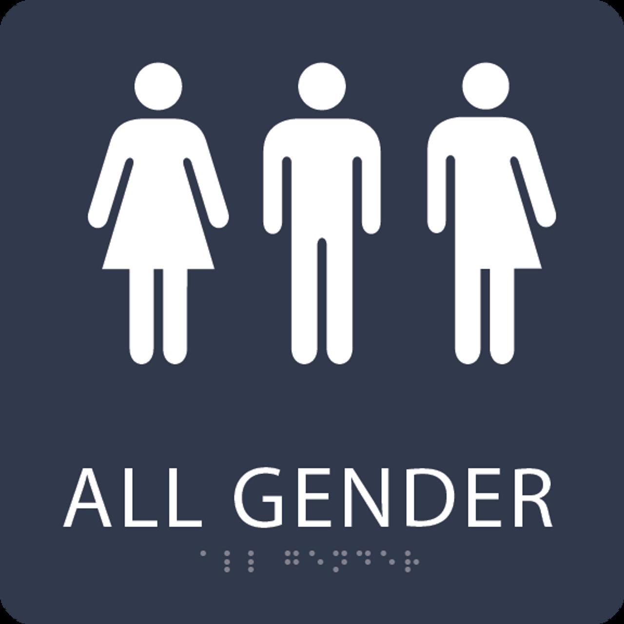 Navy All Gender Restroom Sign