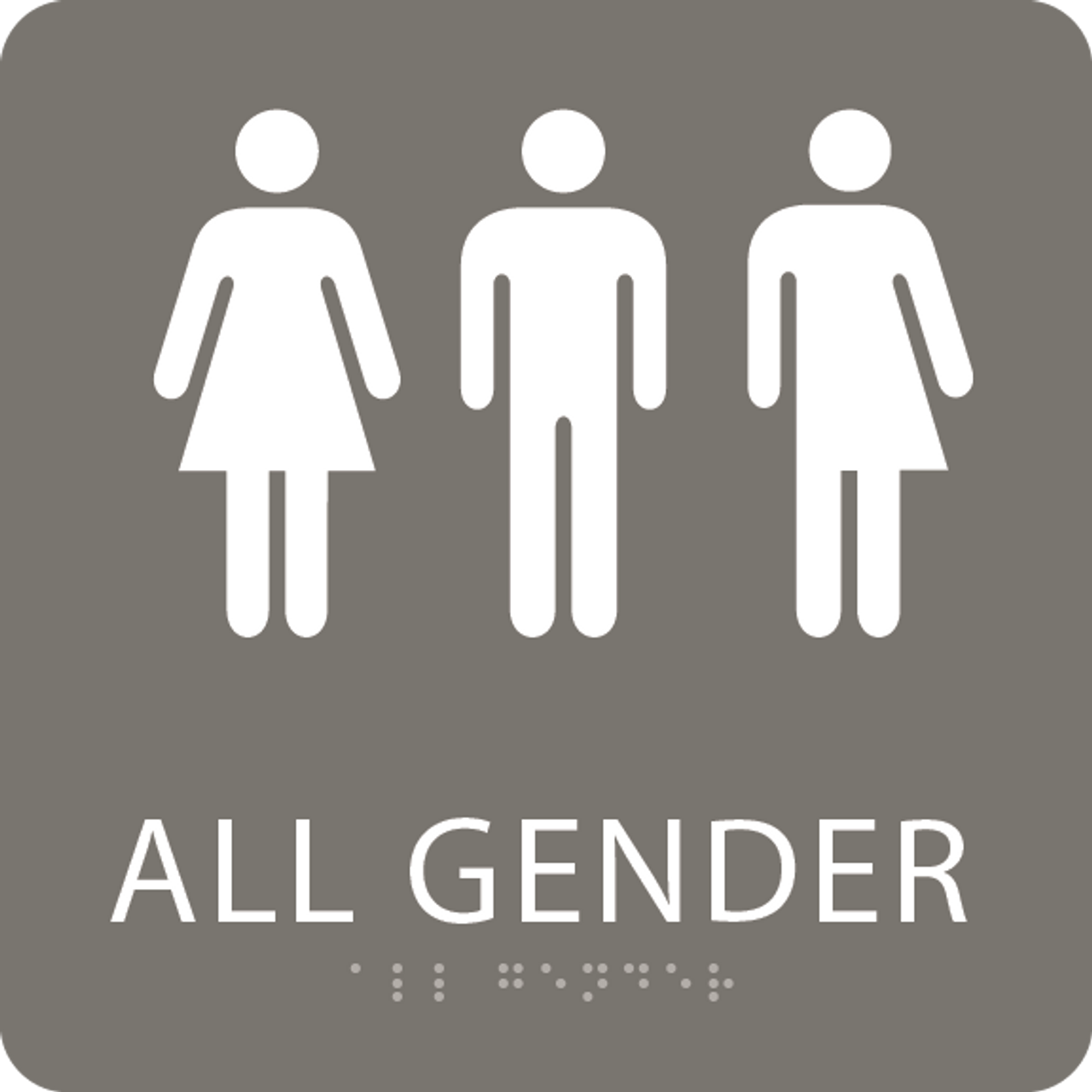 Charcoal All Gender Restroom Sign