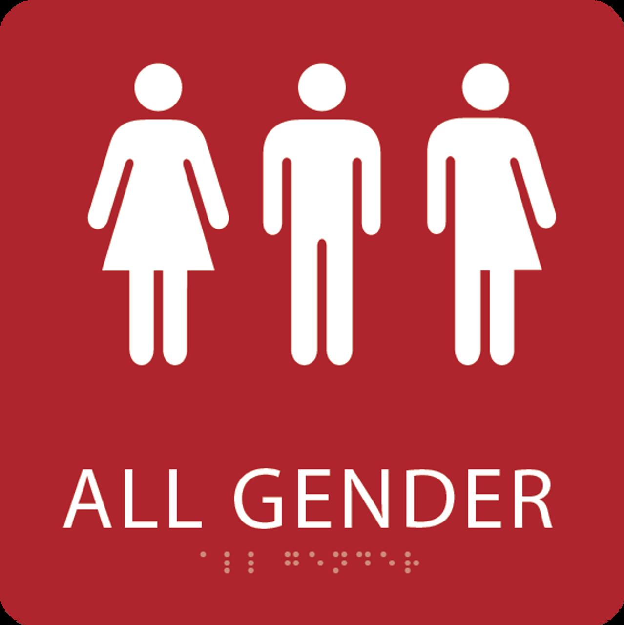 Red All Gender Restroom Sign