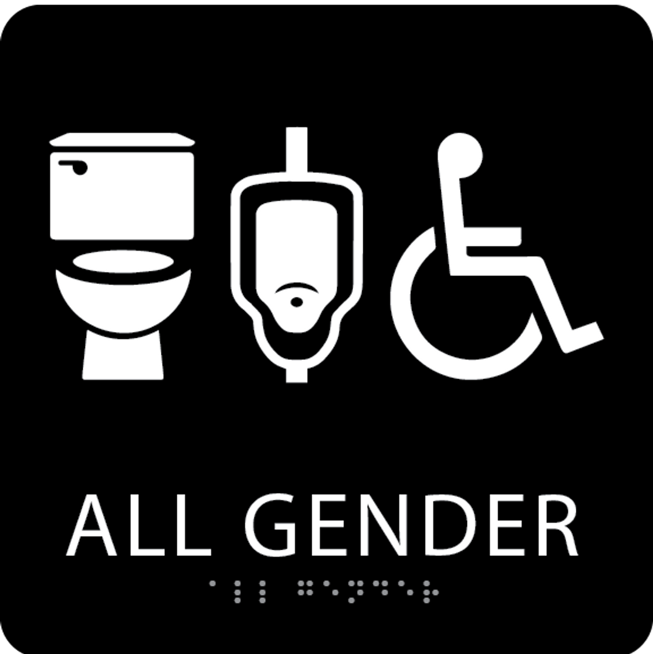 Black All Gender Neutral Restroom Sign
