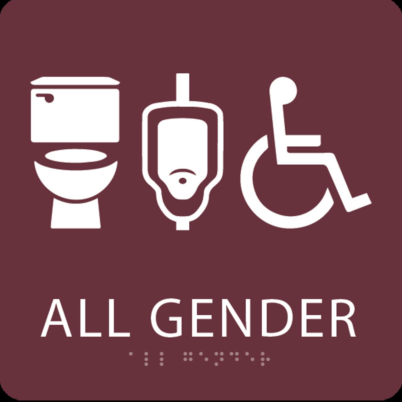 Burgundy All Gender Neutral Restroom Sign