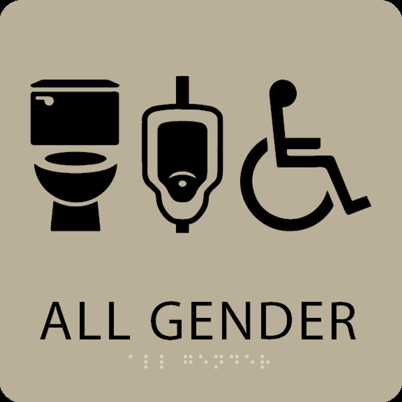 Khaki All Gender Neutral Restroom Sign