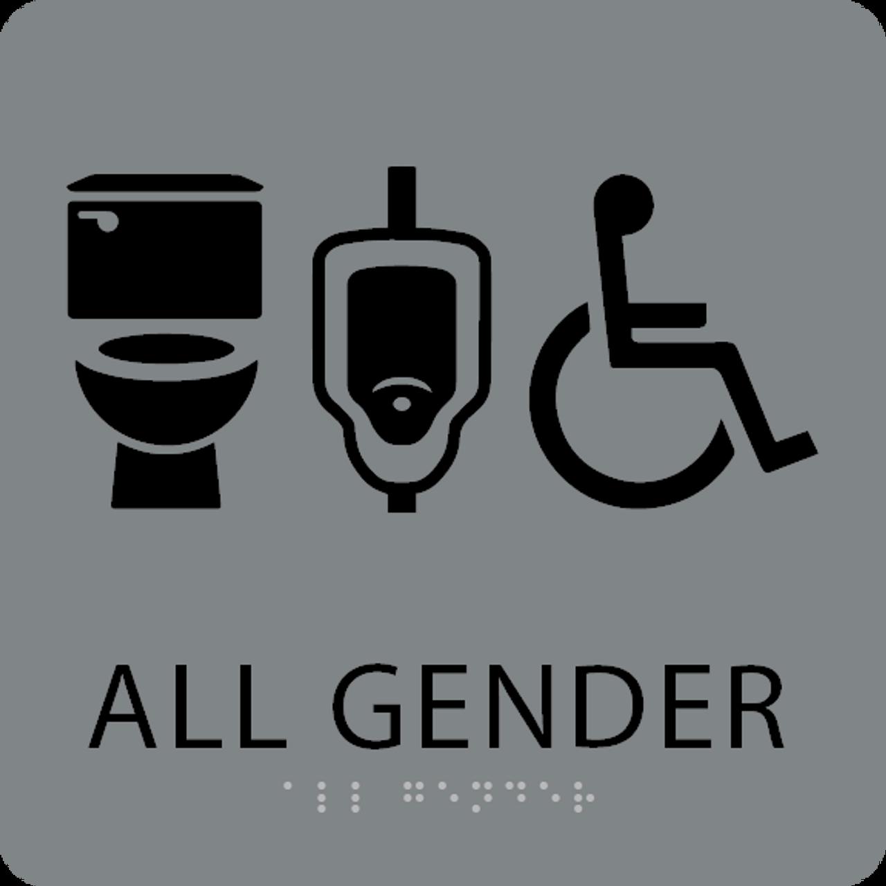 Grey Black All Gender Neutral Restroom Sign