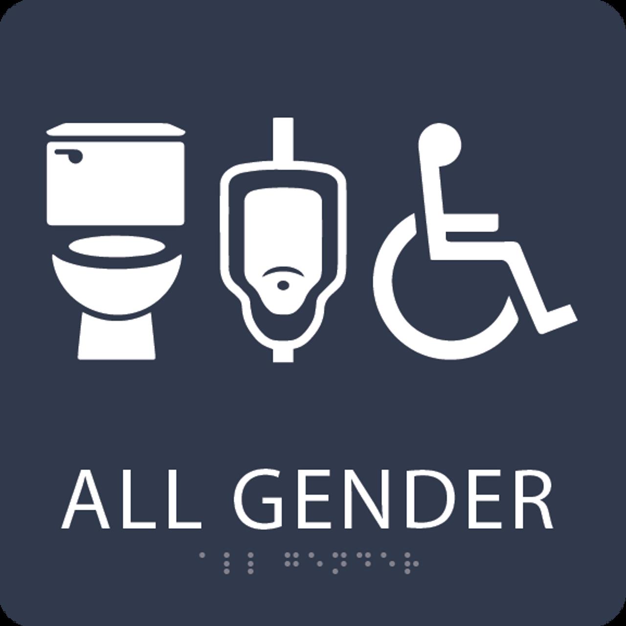 Navy All Gender Neutral Restroom Sign
