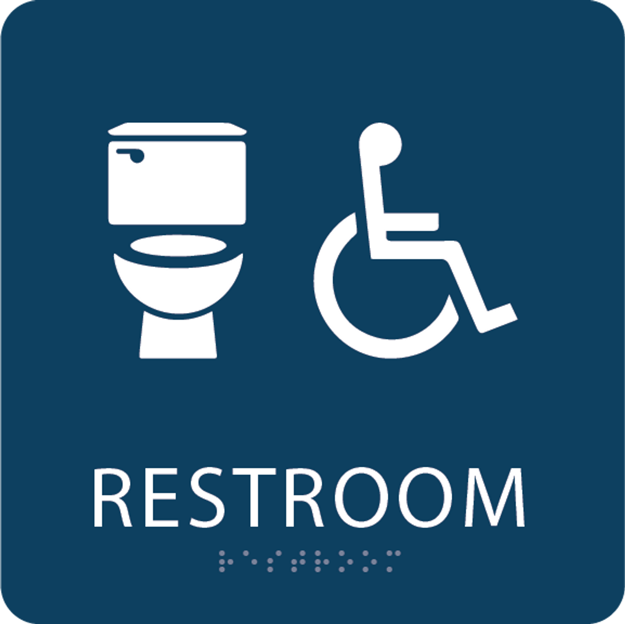 Dark Blue Accessible Toilet Sign