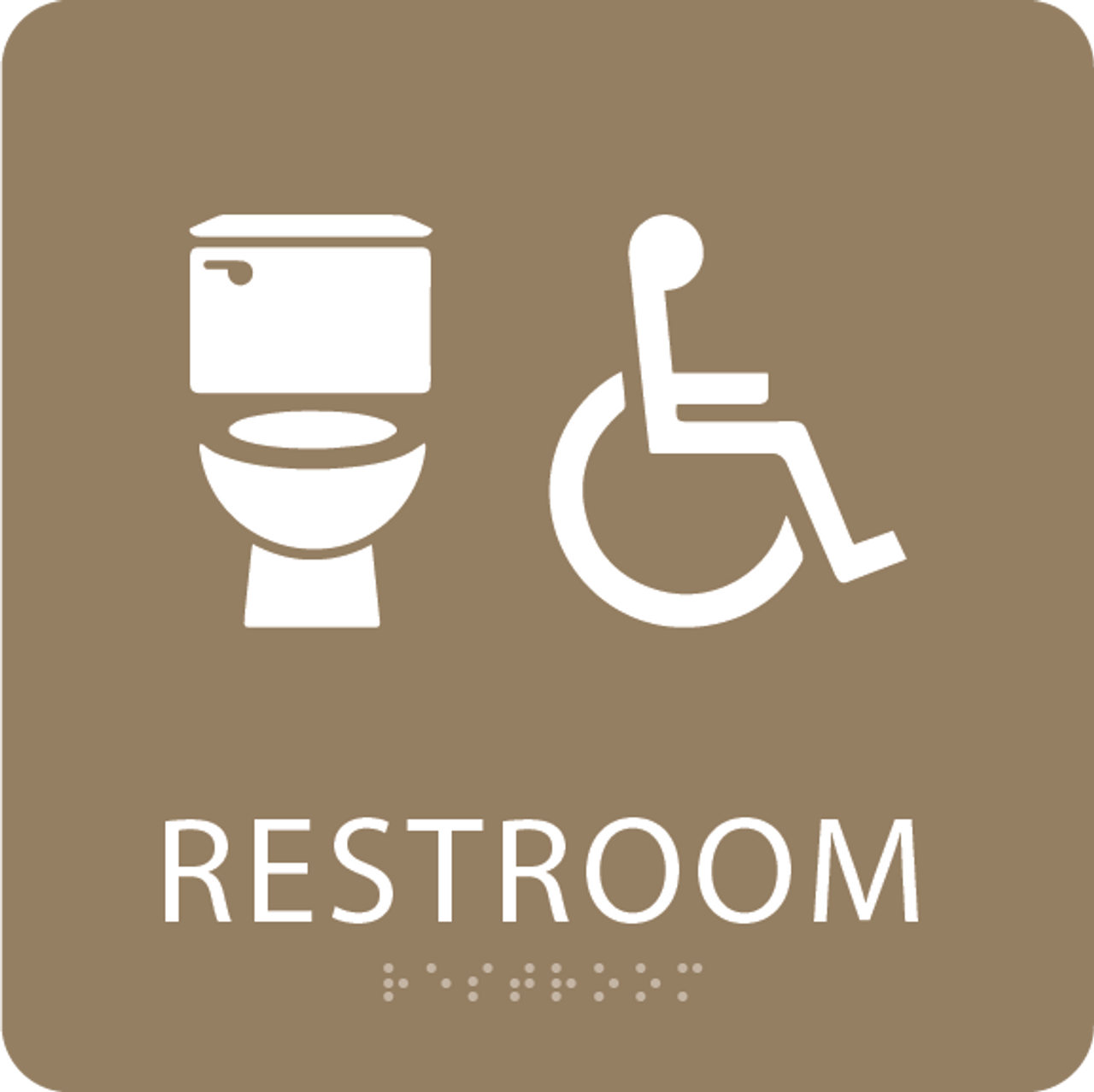 Light Brown Accessible Toilet Sign