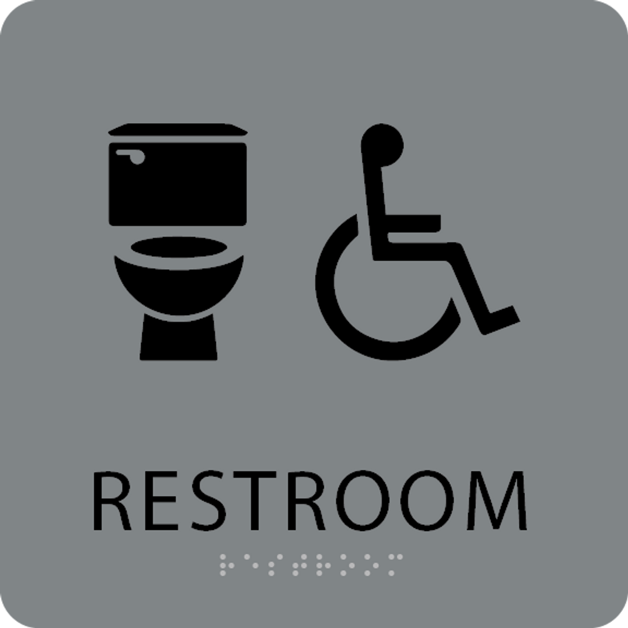 Grey Black Accessible Toilet Sign